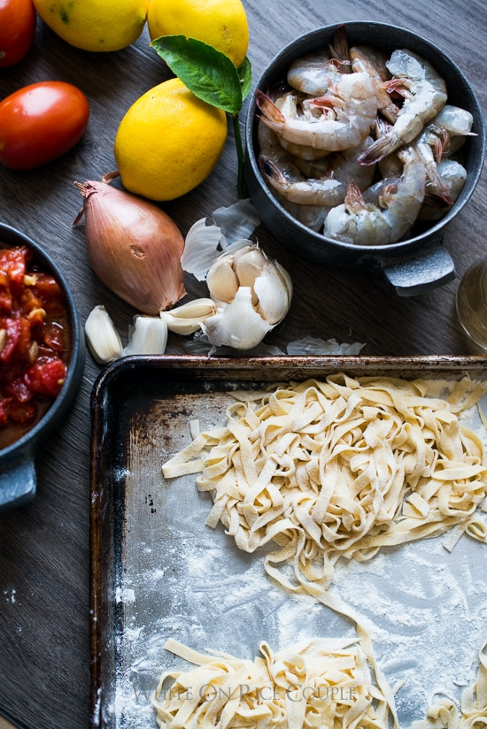 Homemade Pasta with Shrimp Scampi Recipe | @whiteonrice
