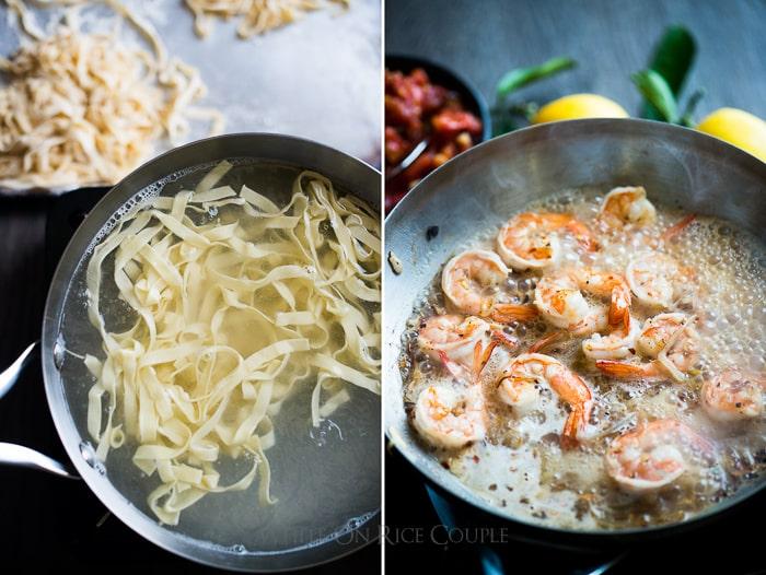 Homemade Pasta with Shrimp Scampi step by step photo