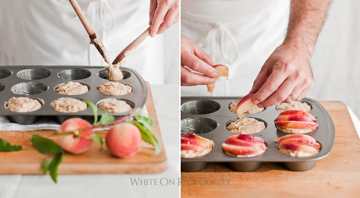 Fresh Peach Muffins with Ginger for the best peach recipe | @whiteonrice