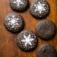 Thumbnail image for Dark Chocolate Gingersnap Cookies with Holiday Stencils