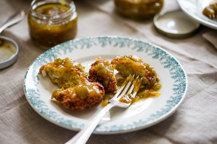 Crispy Quinoa Fritters with Green Tomato Chutney on a plate