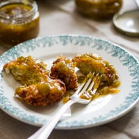 Thumbnail image for Crispy Quinoa Fritters with Green Tomato Chutney and Green Zebra Heirloom Tomatoes