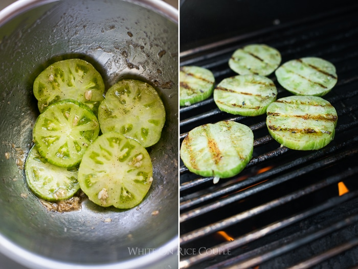 Recipe for green tomatoes on the grill bbq @whiteonrice