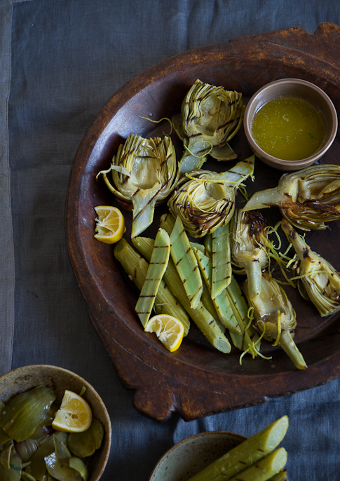 Grilled Artichoke hearts on the bbq from whiteonricecouple.com