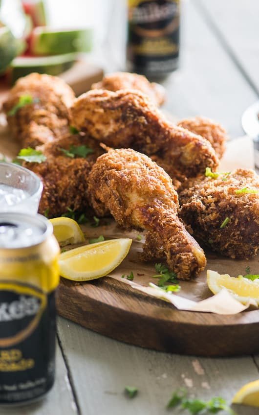mikes hard lemonade-battered fried chicken is juicy and crunchy amazing   @whiteonrice