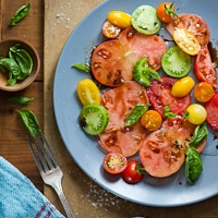 Thumbnail image for Seasonally simple garden Heirloom tomatoes. Celebrating Summer's arrival.