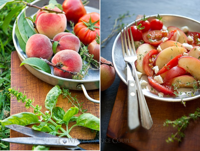 Peach Salad and Heirloom Tomato Salad Recipe | @whiteonrice