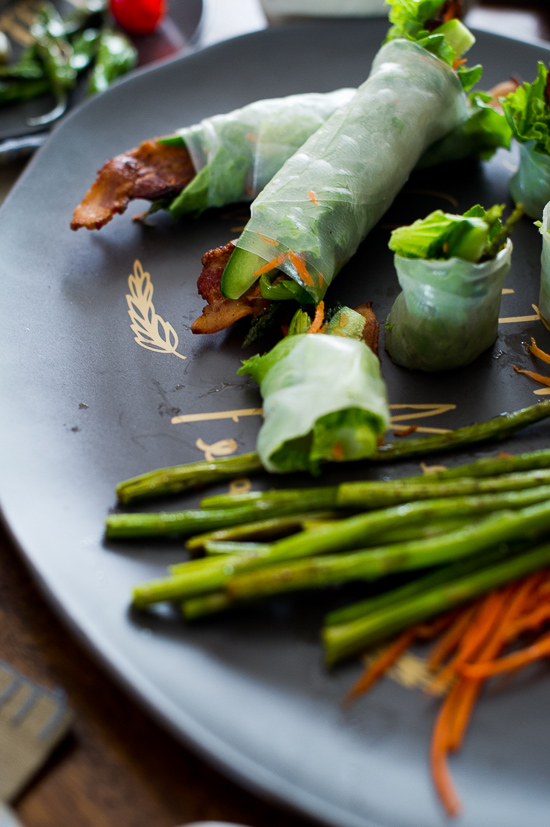 Roasted Asparagus and Bacon Spring Rolls on White On Rice Couple
