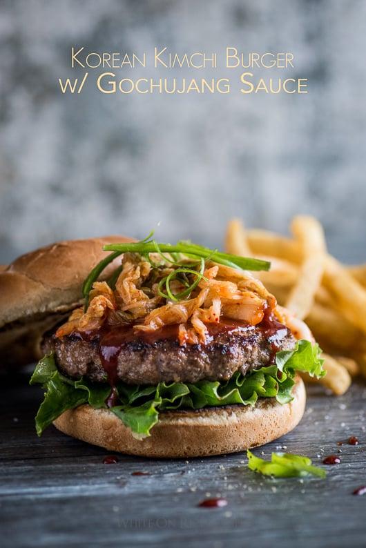 Korean Kimchi Burgers with Gochujang Sauce | @whiteonrice