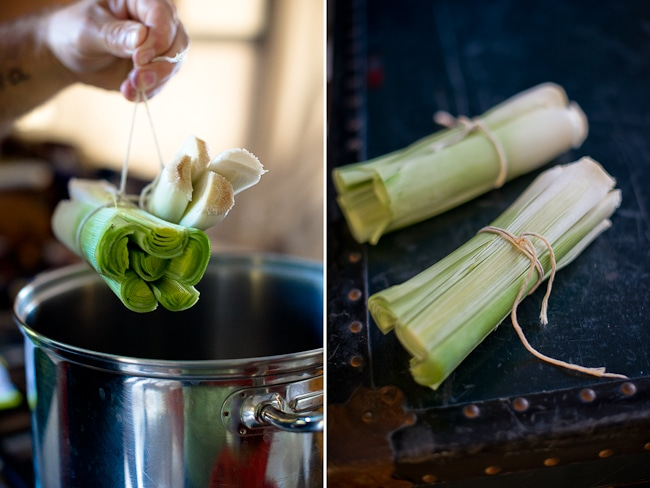 tied leeks for recipe