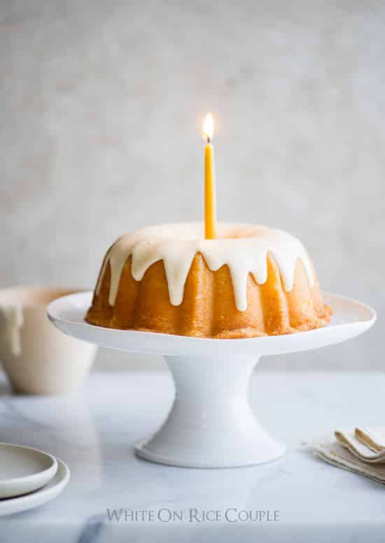 Lemon Bundt Cake Recipe on White On Rice Couple