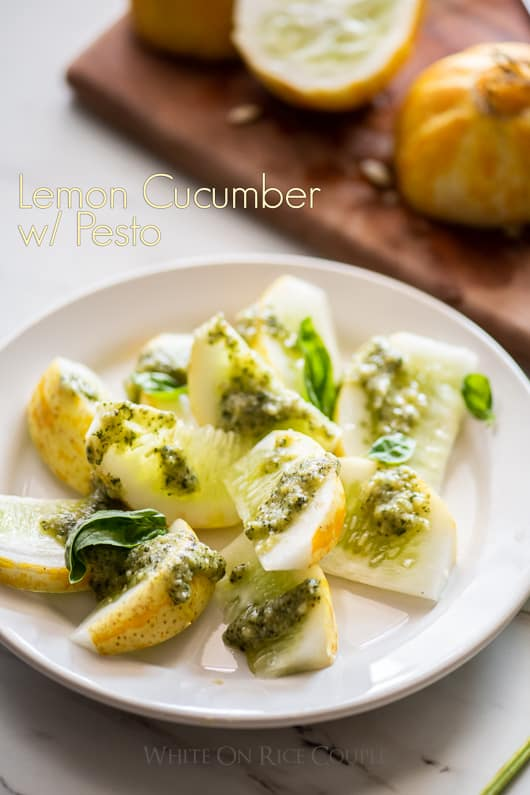Lemon Cucumber Recipe with Pesto Recipe | @whiteonrice