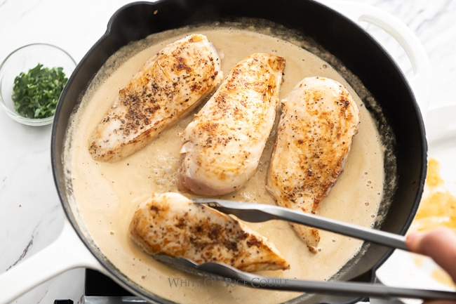 skillet pasta chicken recipe with sauce whiteonricecouple.com