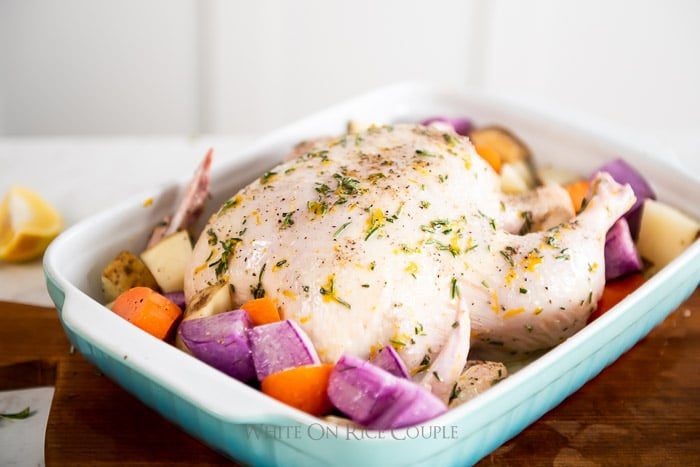 How to cook lemon herb roast chicken recipe | WhiteOnRiceCouple.com