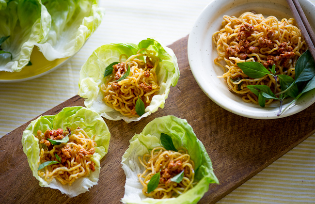 Spicy Pork Lettuce Cups Wraps with Noodles