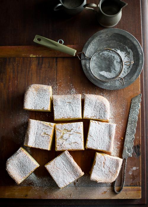 Magic Custard Cake on a cutting board