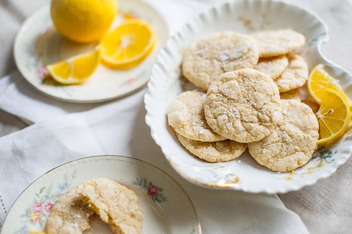 Meyer Lemon Crinkle Cookies on a plate