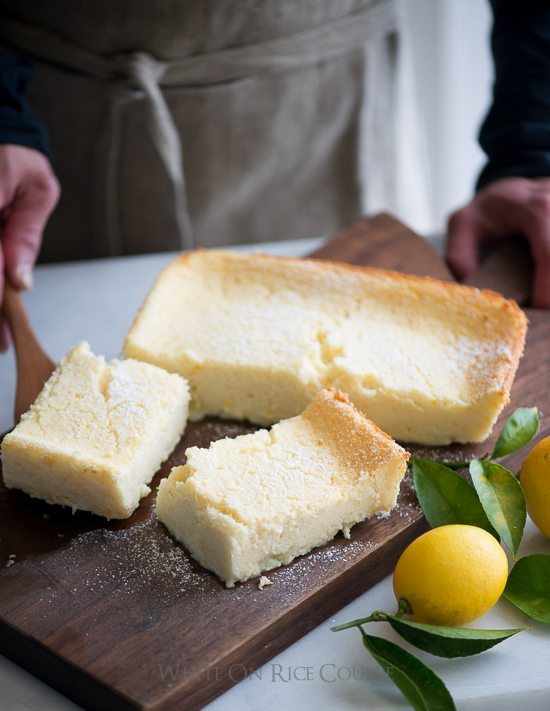 Meyer Lemon Magic Custard Cake a cutting board