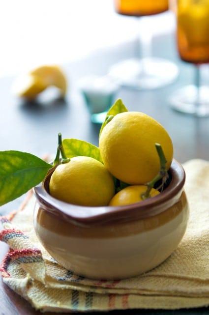 bowl of meyer lemons for margarita