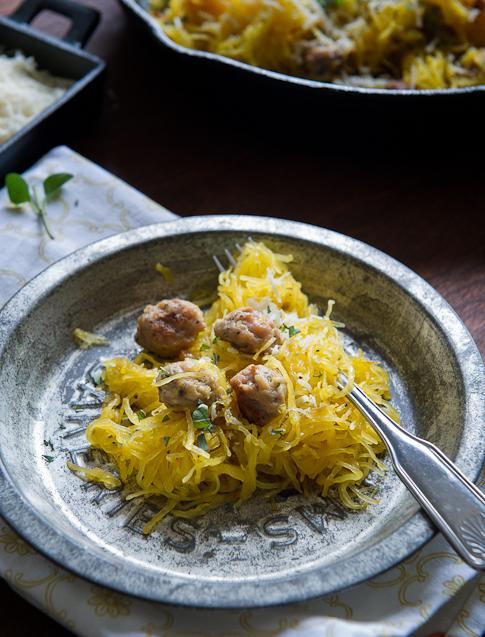 Spaghetti Squash with Sausage on a tin plate