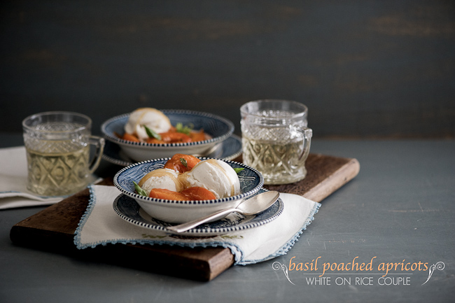 poached apricots with ice cream