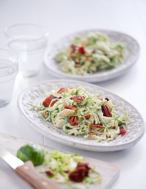 brussels sprouts slaw recipe on plate