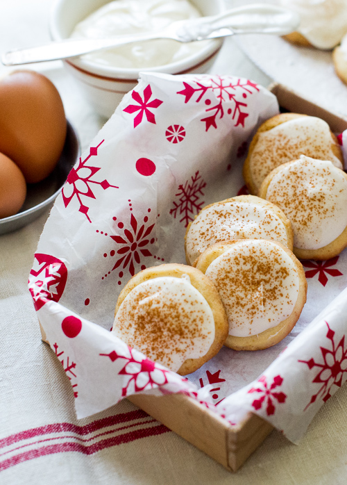 Butter Cookies with Eggnogg Cream Cheese Icing