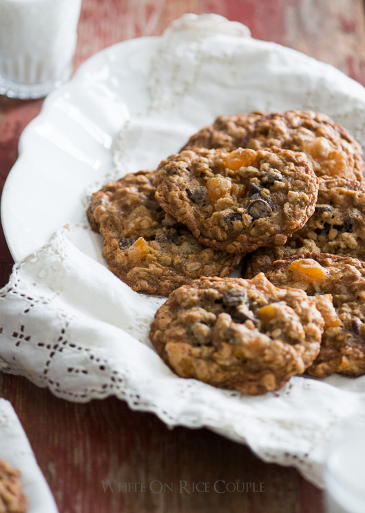 Oatmeal Cookies with Chocolate Chips and Apricots on a plate