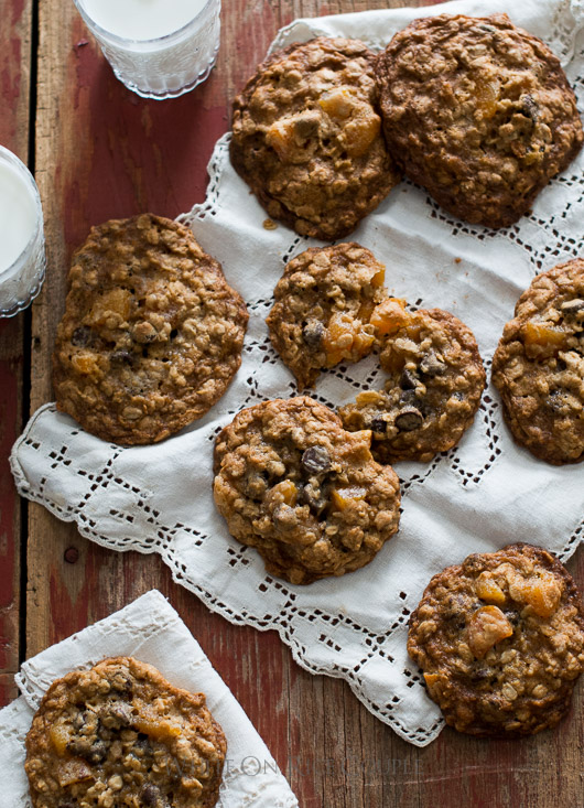 Chocolate Chip Oatmeal Cookies with Dried Apricots on a table