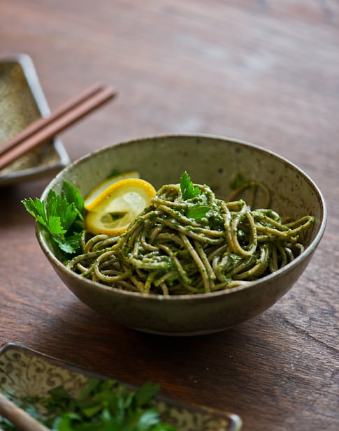 Parsley Pesto Recipe with Soba Noodles in bowl