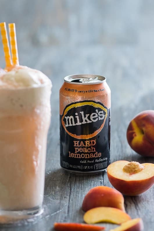 Boozy Peaches-n-Cream Ice Cream Float with Mike's Hard Peach Lemonade can