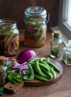 Fresh pickles with vegetables, peas and mint | @whiteonrice