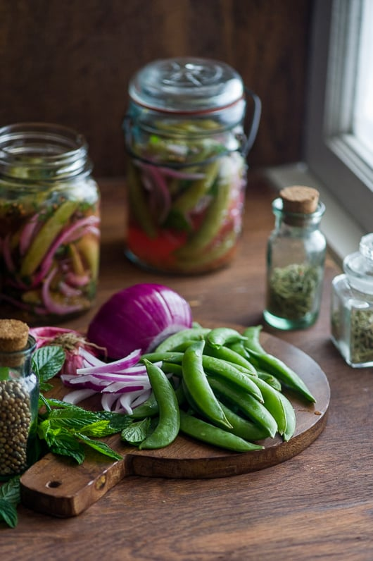 Easy Quick Pickles with Sugar Snap Peas, Mint