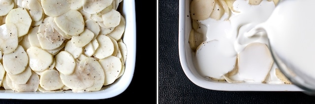 laying in potatoes with cream