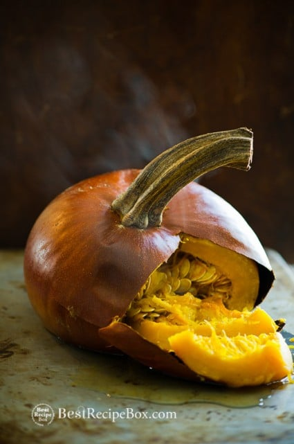Easy Pumpkin Puree Recipe made from fresh sugar or pie pumpkins