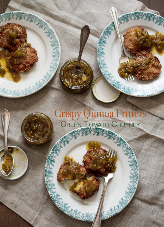 Crispy Quinoa Fritters Recipe with Green Tomato Chutney from WhiteOnRiceCouple.com