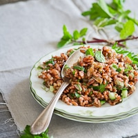 Thumbnail image for Red Rice Salad w/ Mint and Shallot Vinaigrette – A favorite whole grain