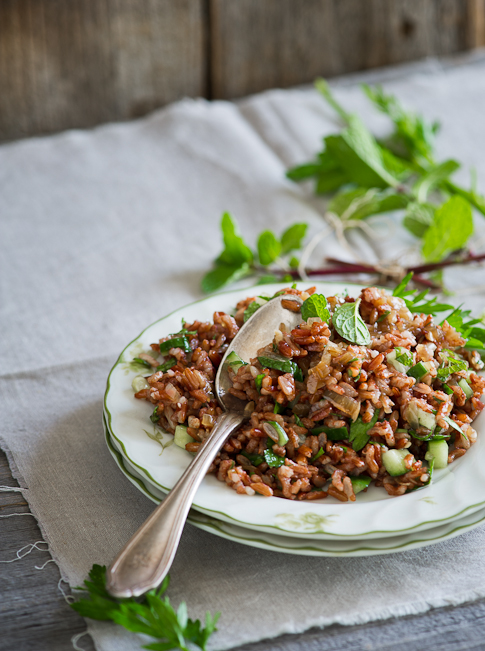 red rice salad on a plate