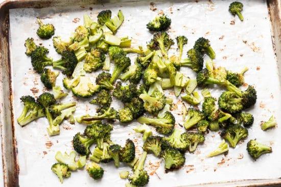 Roasted broccoli on baking sheet pan