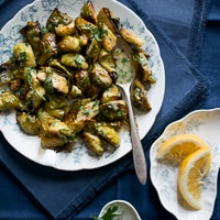 Garlic Roasted Brussels Sprouts Recipe with Lemon Mustard Dressing