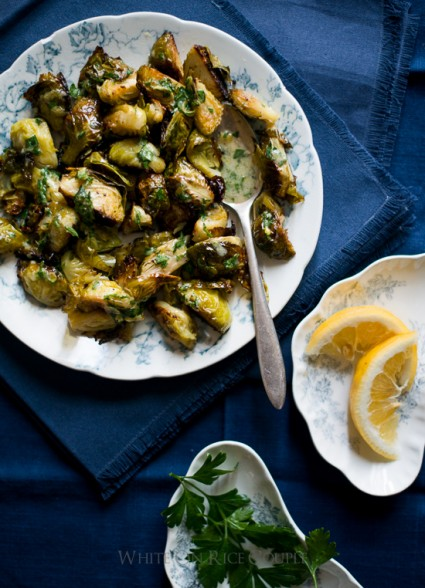 Roasted Brussels Sprouts Recipe with Lemon Parsley Dressing from @whiteonrice