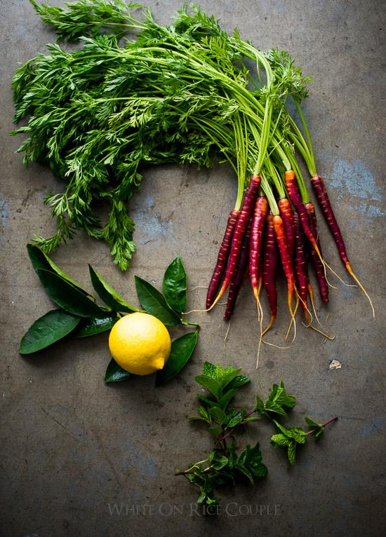 Spring Roasted Carrots Recipe with Mint Lemon Dressing on WhiteOnRiceCouple.com