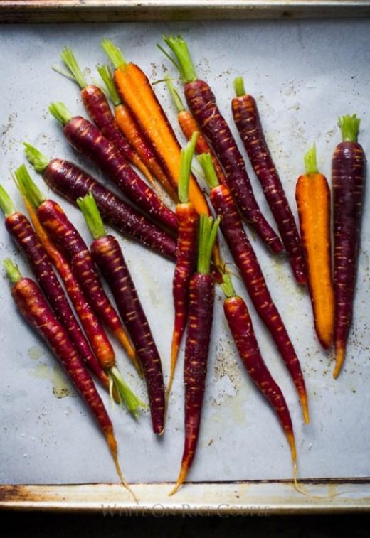Spring Roasted Carrots on a baking sheet