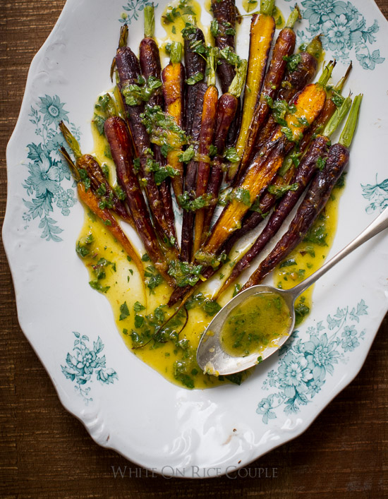Spring Roasted Carrots Recipe with Mint Lemon Dressing on WhiteOnRiceCouple.com