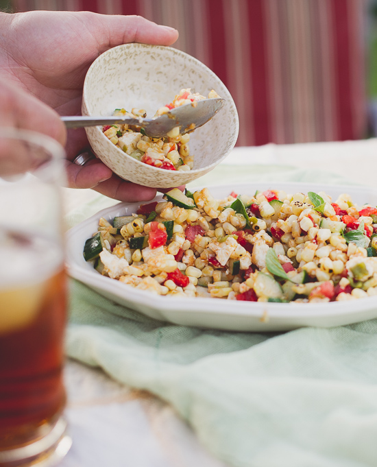 Fire Roasted Summer Grilled Corn Salad Recipe from @whiteonrice White On Rice Couple