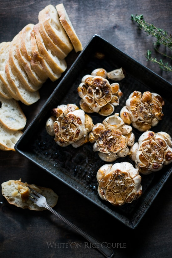 Roasted Garlic on a plate