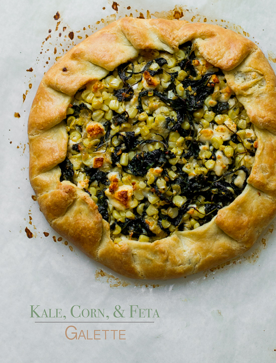 Savory Kale, Corn and Feta Cheese Galette on a baking sheet
