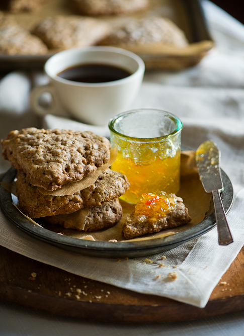 Brown Butter Oatmeal Scones on plate with jam