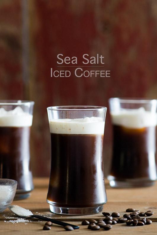 Sea Salt Iced Coffee with Sea Salt Cream in glasses