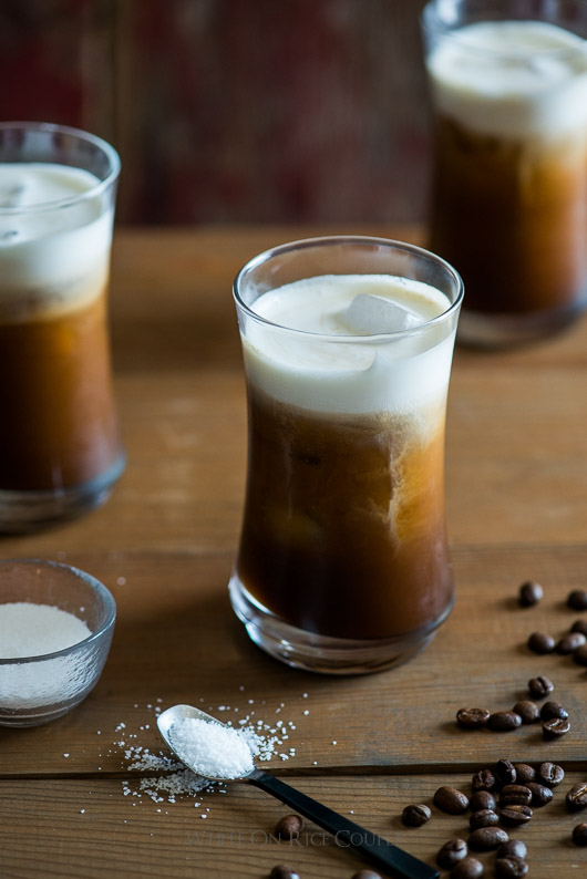 Addicting Sea Salt Iced Coffee with Sea Salt Cream in glass